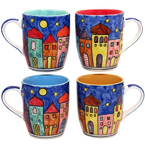 Gall&Zick Tasse Kaffeetasse Teetasse Geschirr Keramik Bemalt Bunt (Gemischt Set/4)