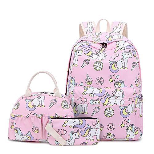 Zokrintz Unicorn School Backpack for Teens Girls Bookbag School Bag Set Travel Daypack for Kids