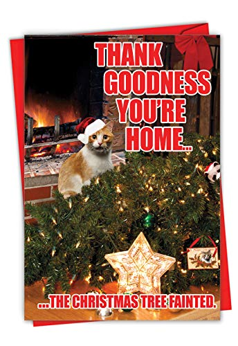 NobleWorks - Funny Cat Card for Christmas - Xmas Holiday Greeting, Pet Cats Notecard with Envelope - Tree Fainted Cat C2546XSG