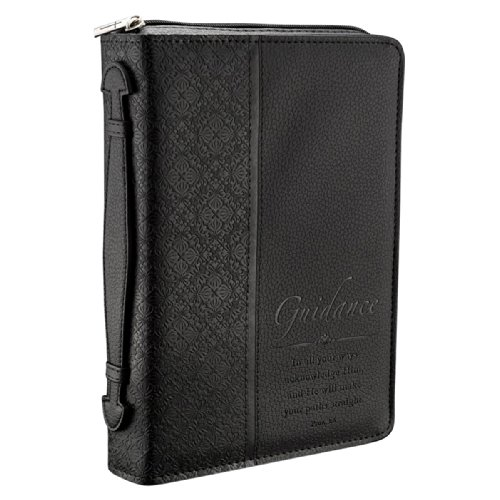 Christian Art Gifts Guidance Black Faux Leather Bible Cover w/Handle Medium