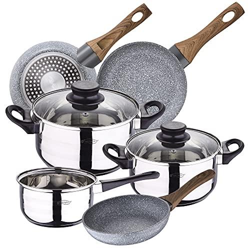 Bateria de cocina 5 piezas SAN IGNACIO, acero inoxidable, con juego sartenes Daimiel (18/20/22 cm) en aluminio forjado aptas para induccion