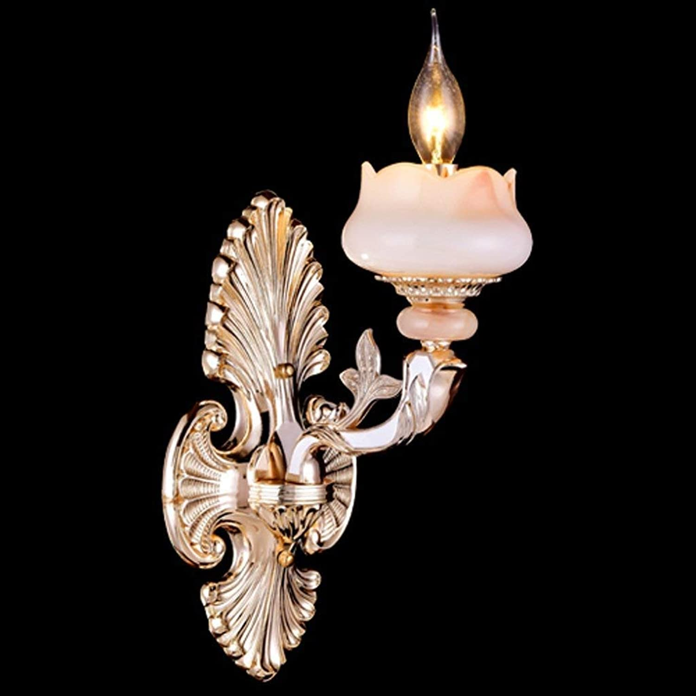 HhGold Parlament Crystal Jade Zink-Legierung Gold Wandleuchte Schlafzimmer Nachttisch Lampe Walking Lounge (Farbe    1) (Farbe    1)