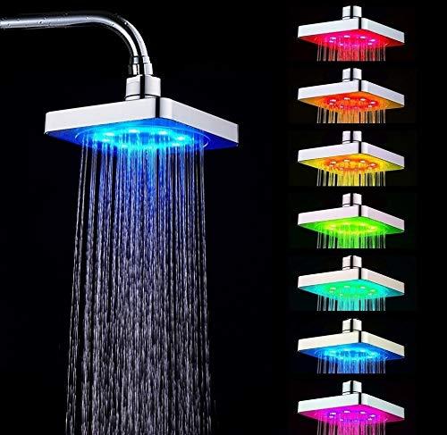 Duschköpfe - Duschkopf-Kit Square Home-Duschkopf für Badezimmer mit 7-farbigem LED-Romantiklicht