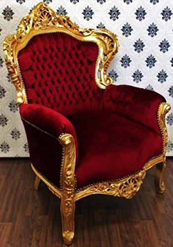 Casa Padrino Barock Sessel King Bordeaux/Gold - Möbel Antik Stil