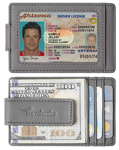 Travelambo Money Clip Front Pocket Wallet Slim Minimalist Wallet RFID Blocking (Type B Vipor grey)