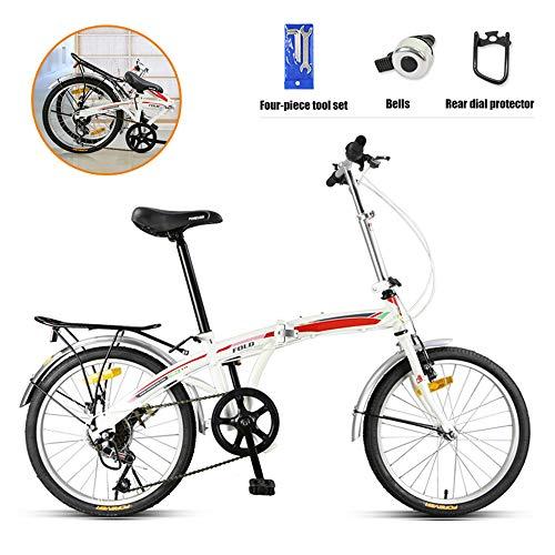 SHANG Faltbares Fahrrad, 7-Gang 20-Zoll-Felgen-City-Bike-V-Bremse mit Doppelstoßdämpfer Speichenrad hochkohlenstoffhaltigem Stahlrahmen für Erwachsene Jugendliche,1 White