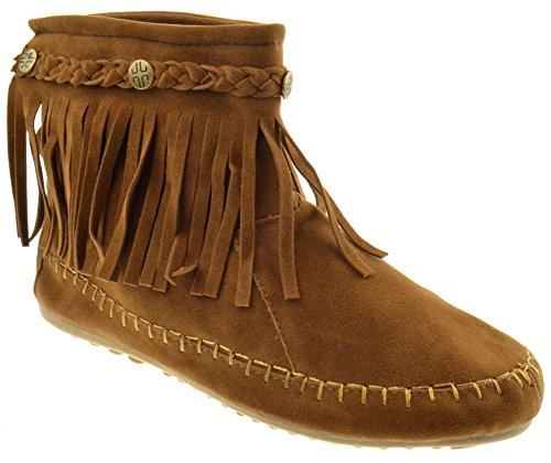 Lucita TG 01 Fringe Moccasin Ankle Boots Tan 9
