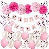 DY_Jin Set de decoración de cumpleaños, Banner de Feliz cumpleaños, artículos para Fiestas de cumpleaños-Pink Blanco y Dorado(Pink)
