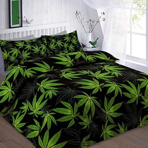 Voice 7 Reversible Cannabis Duvet Cover + Two Pillow Cases - 3pc Marijuana Lead Weed Bedding Set (Black Green, Double)