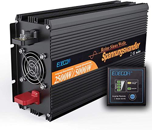 EDECOA Wechselrichter Reiner Sinus 2500w Spannungswandler 12v 230v mit Fernbedienung 2X USB Spannungswandler 2500w Reiner Sinus Power Inverter 2500w