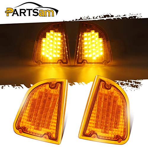 Partsam 29 Amber LED Front P/T/C Light Assembly Replacement for Kenworth T600 T660 K300 T300 T330 Front LED Turn Signal Lights and Parking Lights Lamps, LH & RH, 1157 Plug