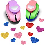 2 Pieces Valentine's Day Punch Heart Shaped Punch Heart Shape Crafts Hole Punches Printing Paper Punches for Crafting Scrapbooking Cards Arts, 15 mm and 25 mm