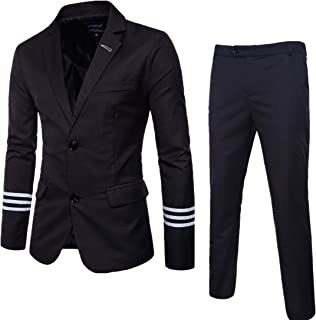 AOWOFS Men's Suits 2 Piece Slim Fit Tuxedo Suits Business Casual Two Button Party Suits with Striped Cuff