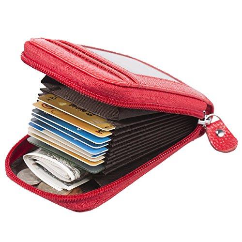 Mujer Tarjeteros - Rojo Auténtico Cuero Cremallera ManChDa RFID Bloqueo Titular de la tarjeta Ventana de la tarjeta de identificación Negocio Caja de las tarjetas Licencia de conducir + Caja de regalo