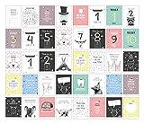 40 Baby Meilenstein-Karten für das 1. Lebensjahr für Mädchen und Junge. Baby Milestone Cards deutsch, zur Erinnerung der Entwicklung der ersten ... Geburt, Schwangerschaft, Taufe oder Baby Shower