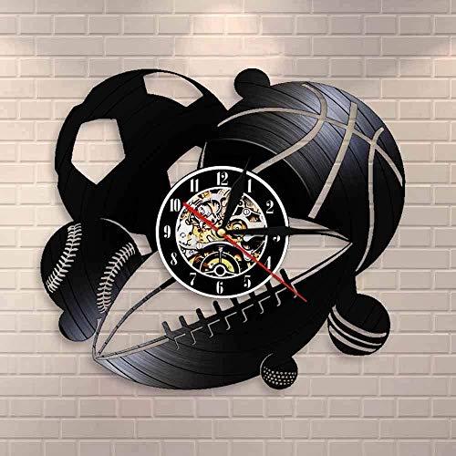 YDDLIE Reloj de Pared con combinación de Pelota Deportiva, decoración del hogar, fútbol, Baloncesto, Golf, béisbol, Golf, Reloj de Pared con Registro de Vinilo Retro, Regalo Deportivo