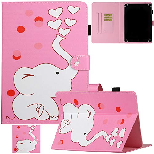 Artyond Universal 10' Tablet Case, PU Leather Folio Stand Card Slot Case for 9.0-10.1' Tablet,Fire HD 10, iPad 6th/5th Gen, Galaxy Tab A 10.1/Tab E 9.6 and More 9.0-10.1 inch Tablet,Cute Elephant