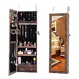 ZeHuoGe Antique Mirror Jewelry Cabinet Wall-Mount/Door-Hanging Lockable Storage Organizer Hanging Mirror Large Capacity Dressing Mirror Standing Jewelry Cabinet (Antique)
