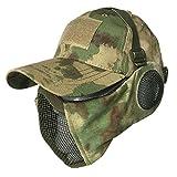 J-HARK サバゲー マスク フェイスガード タクティカル キャップ セット 耳保護付き 曇らない メッシュ フェイスマスク サバイバルゲーム 装備 (A-TACS グリーン)