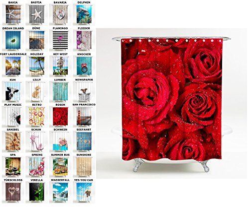 Sanilo Duschvorhang, viele schöne Duschvorhänge zur Auswahl, hochwertige Qualität, inkl. 12 Ringe, wasserdicht, Anti-Schimmel-Effekt (180 x 200 cm, Rosen)