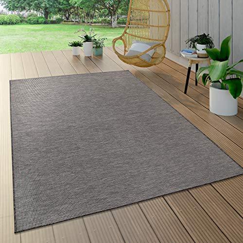 Paco Home In- & Outdoor-Teppich Für Wohnzimmer, Balkon, Terrasse, Flachgewebe In Grau, Grösse:80x150 cm