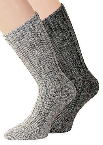 2 Paar Alpaka Socken dick u. weich mit Alpaka, Naturfarben 43-46