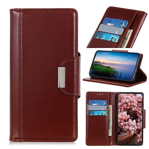 Fundas para teléfono móvil compatibles con Xiaomi Mi 9 Pro, funda de piel sintética con hebilla magnética, con soporte tipo tirón (color marrón)