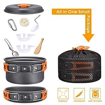 G4Free Kit Casserole Camping 2 Set de Poêles Casseroles 5 pièces 2 Personnes en Aluminum Antiadhésif avec Sac en Filet pour Pêche Randonnée Cuisine Camping