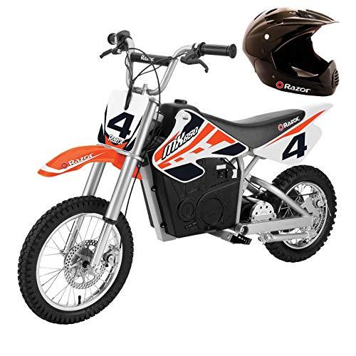 Razor MX650 Adult & Teen Dirt Rocket Ride On High-Torque Electric Motocross Motorcycle Dirt Bike, Speeds up to 17 MPH with Helmet, Orange