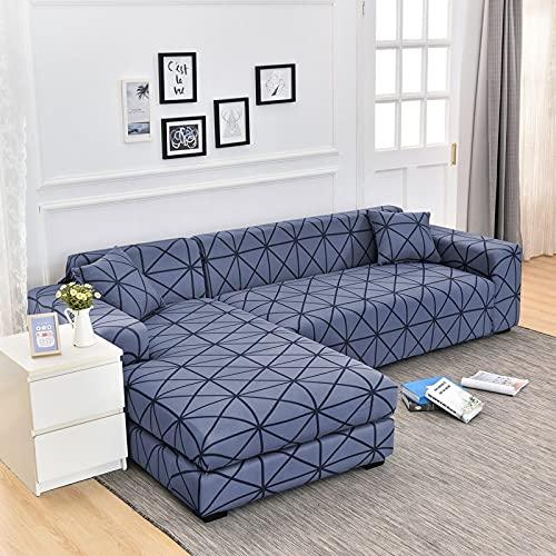WXQY Sala de Estar geométrica en Forma de L Funda de sofá de Esquina elástica Antideslizante Funda de sofá combinación protección para Mascotas Funda de sofá A16 1 Plaza