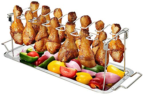 G.a HOMEFAVOR BBQ Chicken Wing/Leg Rack & Drip Pan, Foldable Stainless Steel Grilling Accessories Fits up to 14 Chicken Legs, Wings, Thighs or Drumsticks - Metal Chicken Racks for Grilling Roaster