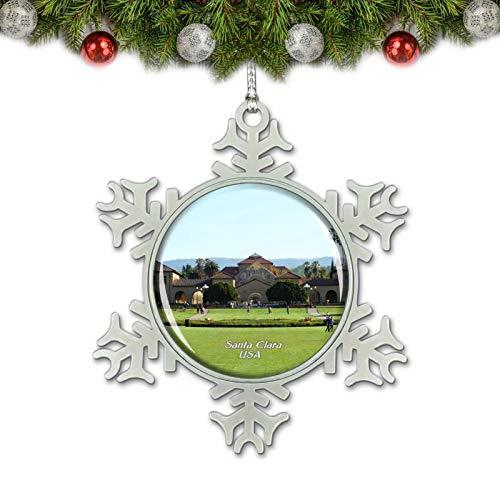 Umsufa USA America Stanford University Santa Clara Christmas Ornament Tree Decoration Crystal Metal Souvenir Gift
