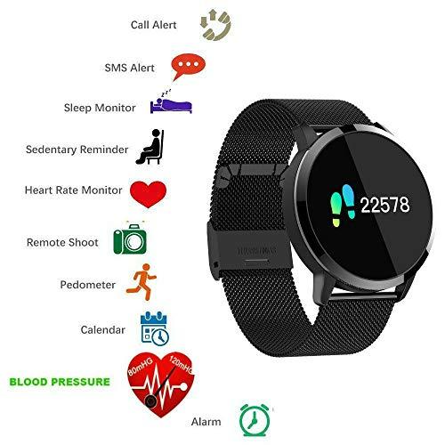 Smartwatch,TKSTAR Bluetooth Smart Watch Sport Armband Online Activity Tracker mit Touch Screen für IOS und Android Frauen Herren Schrittzähler Kalorienzähler Blut Druck Herzfrequenz Monitor