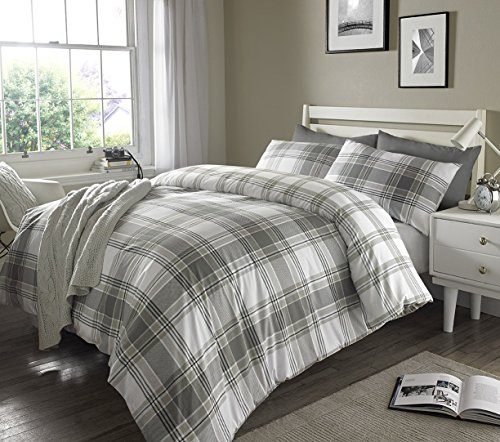Sleepdown Check Grey Striped Reversible Soft Duvet Cover Quilt Bedding Set With Pillowcases - King (220cm x 230cm)