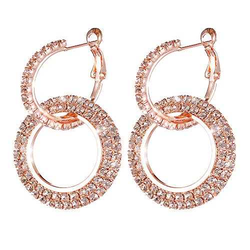 Women Earrings, WensLTD 1 Pairs Luxury Round Diamond Earrings Women Silver Gold Rosegold Glitter Stud (Rose Gold)