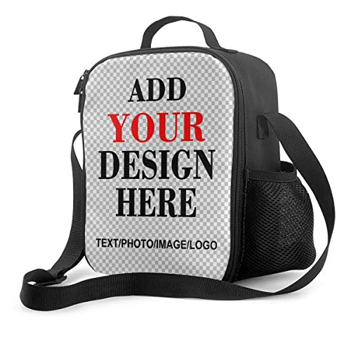 Customizable Upgrade Lunch Tote Box Personalized Your Name or Picture Insulated Cooler Lunch Bag custom Reusable Picnic School Bag Tote with Adjustable Shoulder Strap and 3-Deck Protection