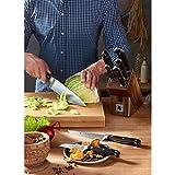 WMF Spitzenklasse Plus Asia Messerblock mit Messerset 6-teilig, 3 Messer geschmiedet, 1 Schere, 1 Wetzstahl, 1 Block aus Buchenholz, Performance Cut - 15