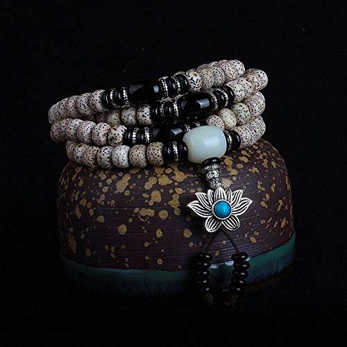 MLJSX armband natuurlijke Bodhi armbanden 108 Boeddha kralen zilveren bloem hanger ketting hout boeddhisme sieraden