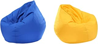 HOMYL 2 Pieces Kids Large Bean Bag Covers Without Filling, Waterproof, Royal Blue & Yellow