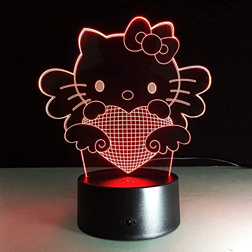 3DLichter, 3DLEDNachtlicht 7 Color Touch Fernbedienung Schreibtischlampe USB HomeSchlaf zimmer Nachttis chlampe, Hello Kitty, Holiday Gifts or Home Decorations