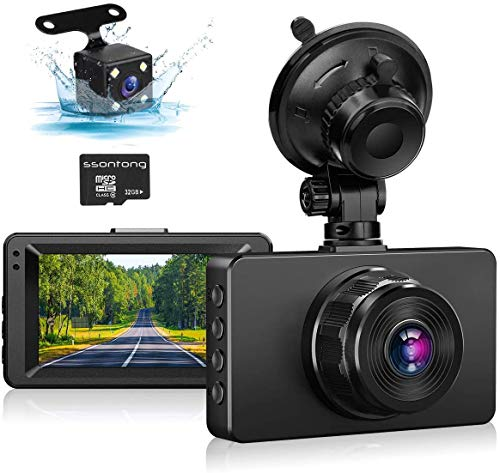 """Dash Cam Front and Rear, Dash Camera for Cars 1080P Full HD Dual Dash Cam 3"""" IPS Screen in Car Camera Front and Rear Night Vision,170°Wide Angle Motion Detection Parking Monitor G-Sensor(with SD Card)"""