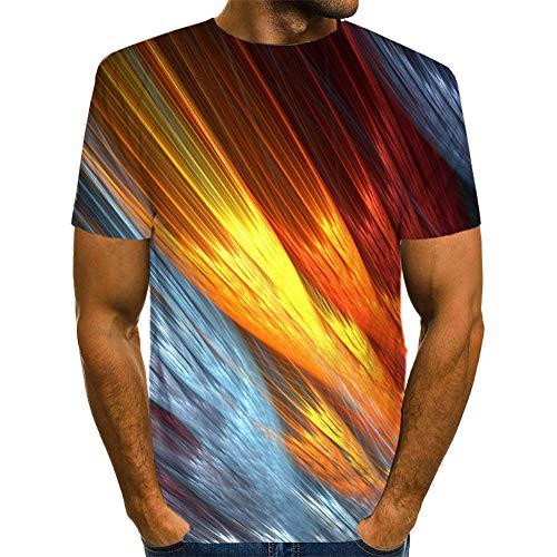 Nuevo Camiseta de los 3D Hombres Verano Redondo Cuello 3D Fuego Impreso Camiseta Corto Manga Camisa Parte Superior Blusa,C,XXXXXL
