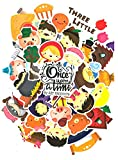 ⭐ Top Stickers ! ⭐ Juego de 45 Pegatinas Cuentos Clásicos para Niños - Caperucita Roja, Los Tres Cerditos, Ricitos de Oro, Juan y Los Frijoles Mágicos, Hansel y Gretel - Scrapbooking, Decoracion
