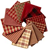 Dunroven House Homespun 12-Piece Fat Quarters, 18 by 21-Inch, Red
