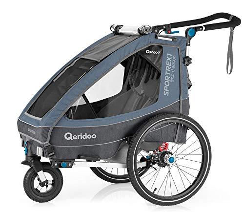 Qeridoo Sportrex1 Limited Edition Kinderanhänger meliertes dunkelblau Federung für ein Kind E-Bike geeignet