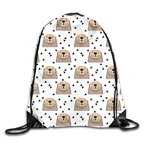 show best Brown Otters on White Drawstring Gym Bag for Women and Men Polyester Gym Sack String Backpack for Sport Workout, School, Travel, Books 14.17 X 16.9 inch