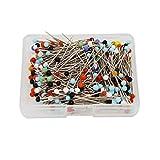 OKVGO 300 alfileres de cabeza de cristal de 32 mm con caja para acolchado y manualidades, multicolor