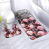 N/B Colorful Flamingo Seamless Background Vector Image Bad rutschfeste Bodenmatte cuarto Antirutsch-Polster esterillas para Innendekorationen Set 2 unidades Personalisiert