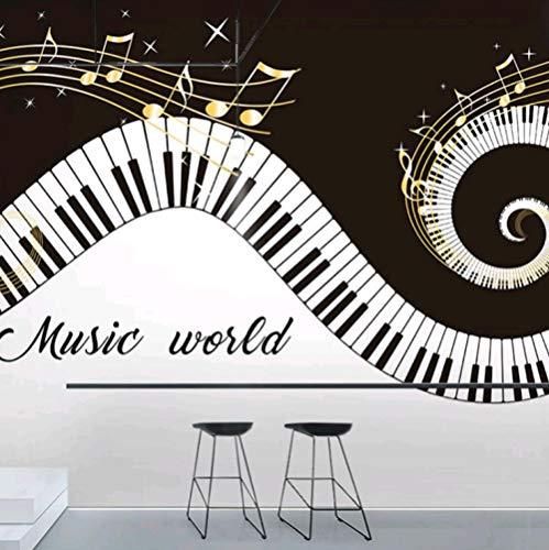 HUATULAI Muurschildering 3D Behang Muziek Piano Lijn Studio Wanddecoratie Mural Note Eetbar Dans Klas Behang 350 * 245cm/W*h