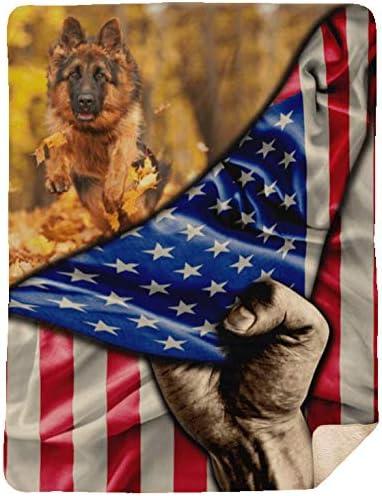 German Shepherd Dog 2021 new Lover American Fleece Blanket Premium New color - Flag